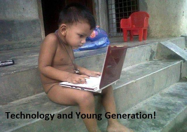 funny boy and technology