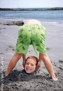 funny kid on beach