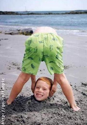 funny kid on beach